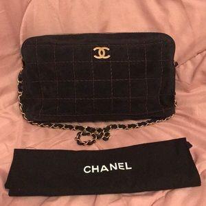 Auth CHANEL Diamond Wild Stitch Suede Chain Bag